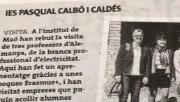 Zeitungsausschnitt aus Menorca