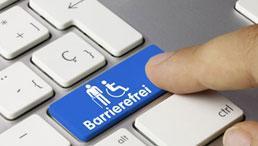 """PC-Tastatur mit Finger Richtung mit Taste mit Piktogramm """"Barrierefreiheit"""""""