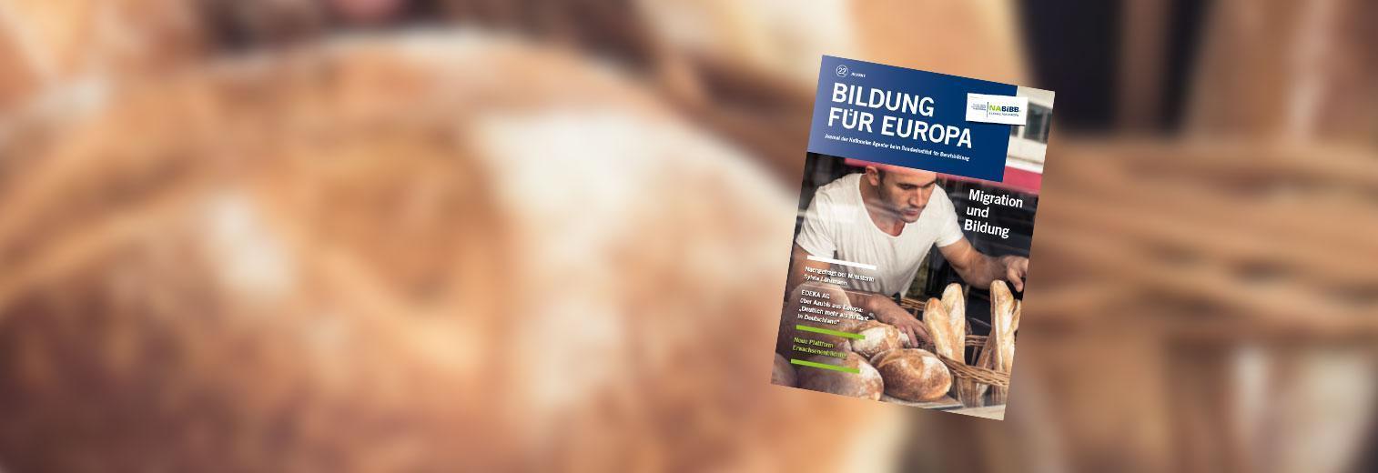 """Titelbild des Journals der Nationalen Agentur zum Thema """"Migration und Bildung"""": Junger Mann sortiert Brot in Brotkörben"""