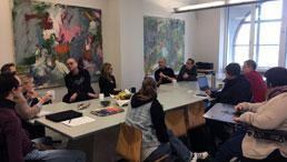Erasmus+-Projektteilnehmende im Seminarraum