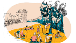 Menschen sitzen im Park und lernen