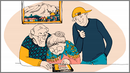 Älteres Ehepaar lernt am Tablet
