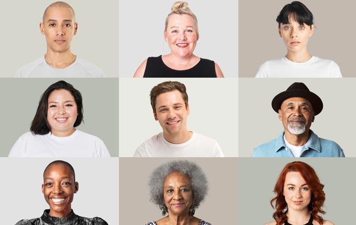 Porträts diverser Menschen