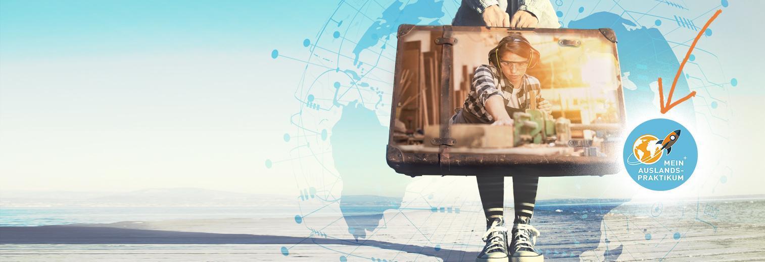 Mädchen mit Koffer für ihr Auslandspraktikum