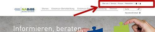 Die Service-Navigation ist rot eingekreist.