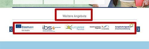 Weitere Angebote und die Logos der anderen Internetseiten, die zu dem Angebot gehören, sind rot umrandet.